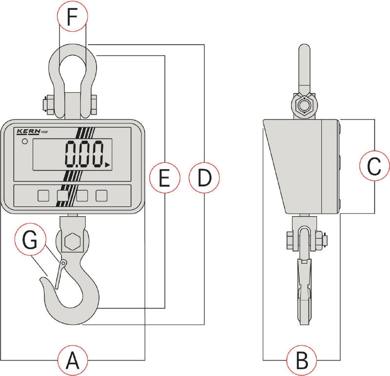 Crane scale HCD 60/150 kg, 20/50 g
