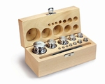 Set cylindrical weight M1, inox, wood case, 1g~1kg