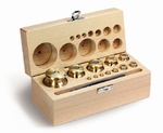 Set cylindrical weight M2, brass, wood case, 1g~1kg