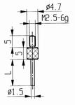 Contact point 573/14 - M2.5-6g/16/4.7/flat Ø1.5 /pin l=50mm