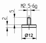 Contact point 573/11 - M2.5-6g/2/10/flat Ø12 mm