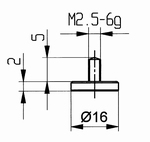 Contact point 573/11 - M2.5-6g/2/10/flat Ø16 mm