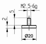 Contact point 573/11 - M2.5-6g/2/10/flat Ø20 mm