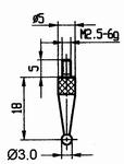 Contact point 573/42R Ø3mm - M2.5-6g/18/5/ball Ø3 /ruby ball