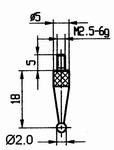 Contact point 573/42R Ø2 mm - M2.5-6g/18/5/ball Ø2 /ruby bal