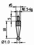 Contact point 573/42R Ø1mm - M2.5-6g/18/5/ball Ø1/ruby ball
