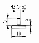 Contact point 573/11C - M 2,6/2.5/10/flat Ø10 /ceramic
