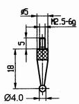 Contact point 573/42R Ø4mm - M2.5-6g/18/5/ball Ø4 /ruby ball