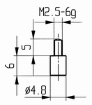 Contact point 573/10 - M2.5-6g/6/4,8/flat Ø4,8 mm