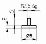 Contact point 573/11 - M2.5-6g/2/10/flat Ø8 mm