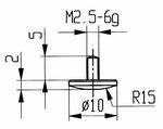 Contact point 573/12 - M2.5-6g/2/10/convex Ø10 mm
