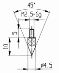 Contact point 573/13 - M2.5-6g/10/4.5/pointed 45°