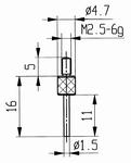 Contact point 573/14 - M2.5-6g/16/4.7/flat Ø1.5 /pin l=11mm