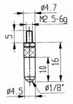 Contact point 573/16R - M2.5-6g/16/4.7/ball Ø1/8