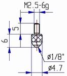 Contact point M2/70S - M2.5-6g/6/4.7/sapphire ball Ø1/8
